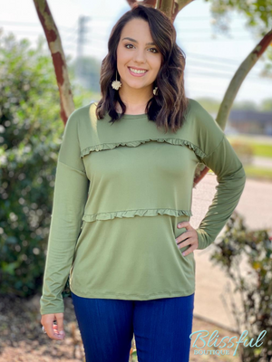 Olive Ruffle Tiered Long Sleeve Top