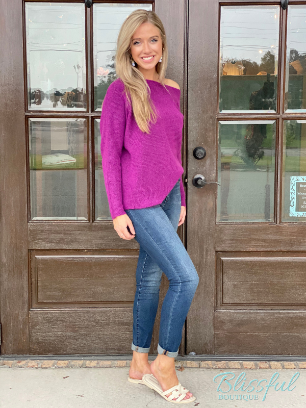 Orchid Off the Shoulder Ribbed Sweater