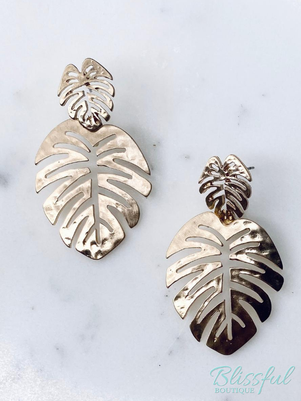 Hammered Satin Palm Leaf Drop Earrings