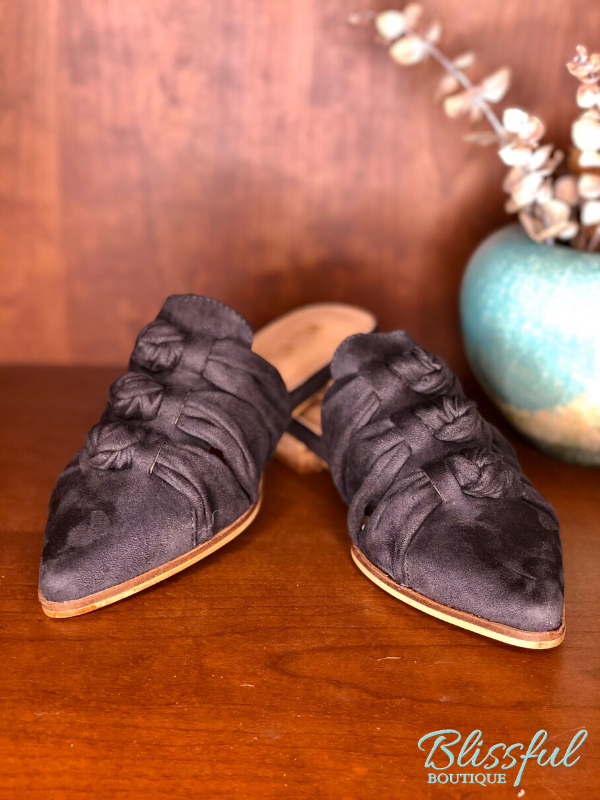 Grey knotted mule shoes