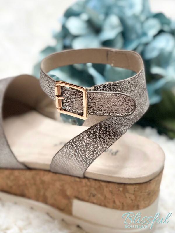 Rose Gold Platform Shoe- Ankle strap with gold buckle