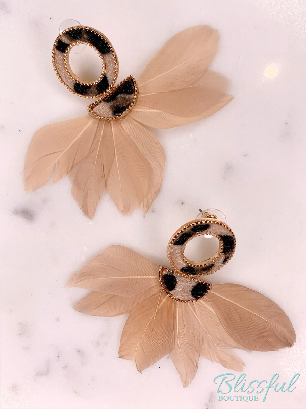 Leather & Feather Fan Earrings
