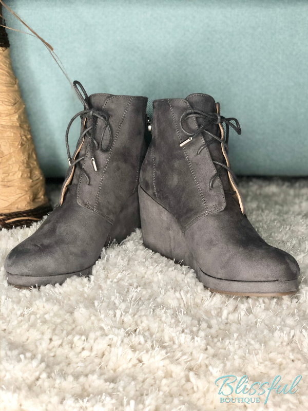 Grey Lace Wedge Bootie