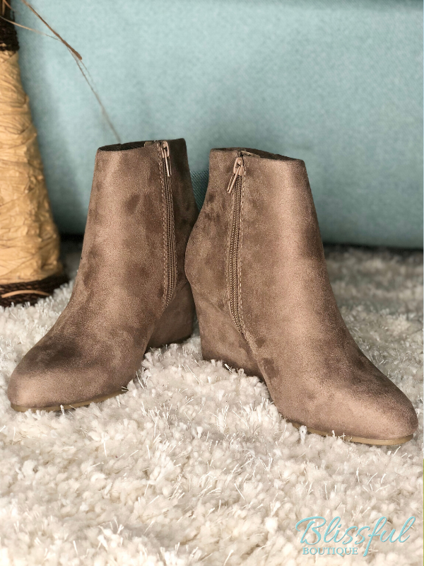 Taupe Wedge Ankle Bootie