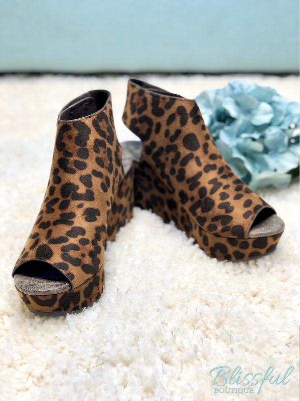 Brown Cheetah Peep Toe Wedge