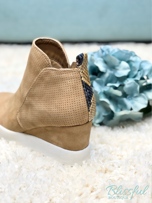 Tan Perforated Wedge Fashion Sneaker
