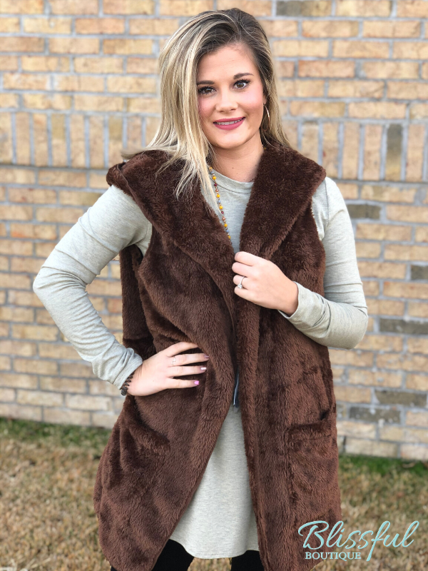 Brown Faux Fur Hooded Vest