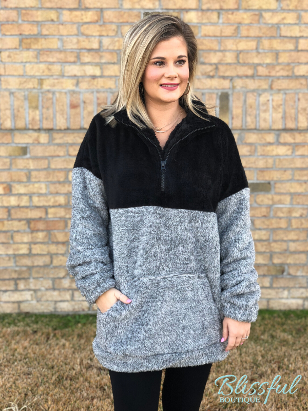 Black & Grey Faux Fur Half Zip Pullover
