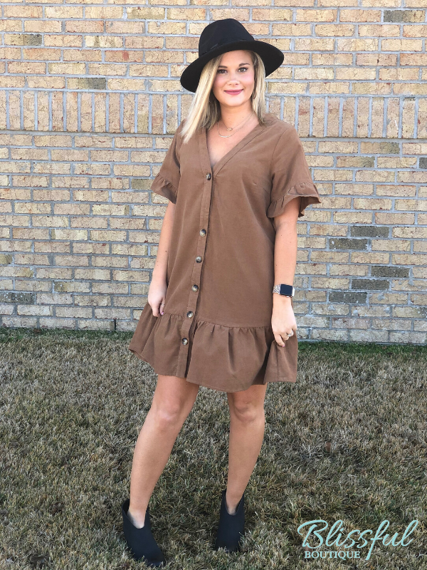 Mocha Corduroy Ruffle Hem & Sleeve Dress