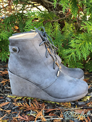 Grey lace up wedge booties