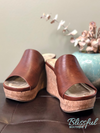 whiskey color cork wedge sandal
