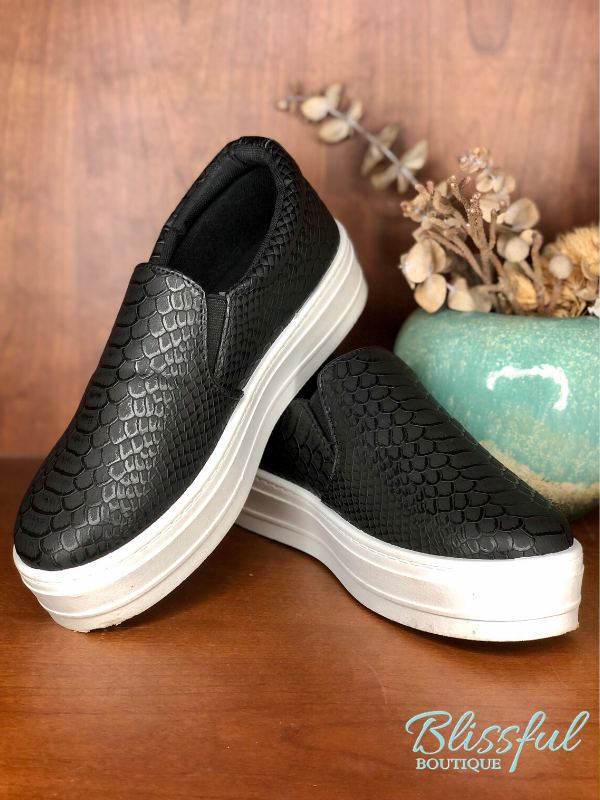 Fashion Sneakers in a Black Croc Texture