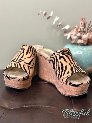 Tiger Print Cork Wedge Slide