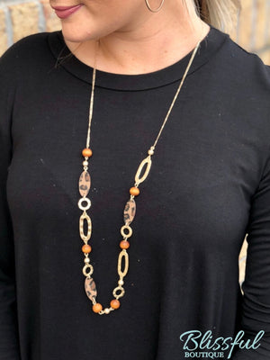 Leather Oval & Wood Ball Necklace