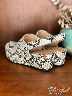 White & Black Snake Print Peep Toe Platform Wedge