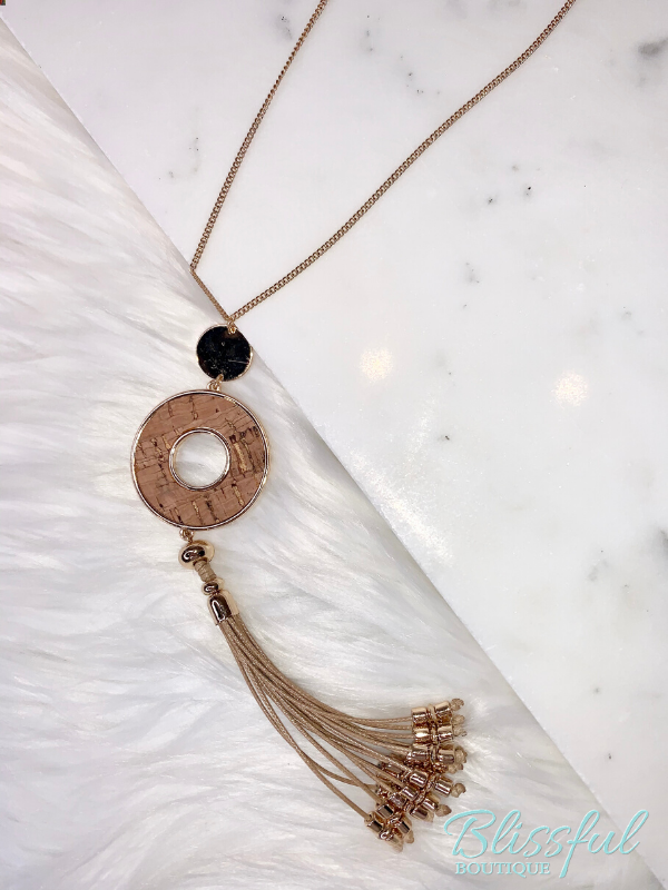 Cork Circle Tassel Necklace