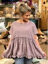 Lavender Smock Top w/ Frill Detail at Hem