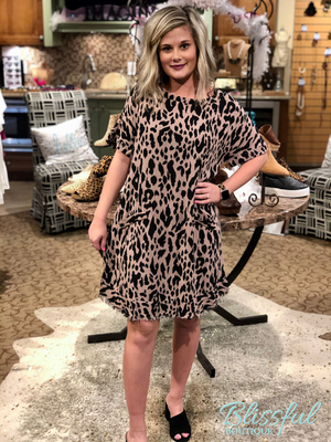 Mocha Animal Print Dress w/ Frayed Hem
