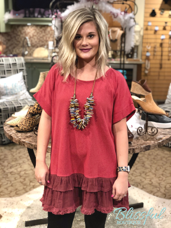 Cranberry Contrast Ruffle Bottom Tunic