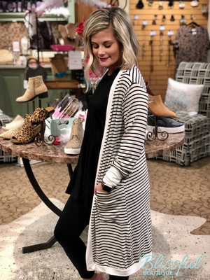 Black Stripe Midi Open Cardigan