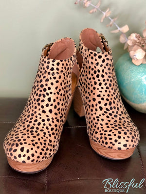 Cheetah Wood Wedge Clog