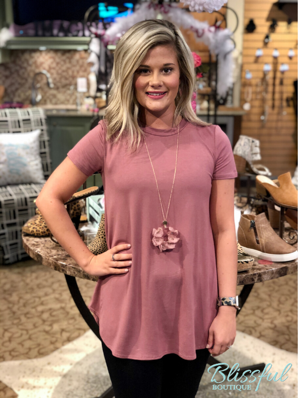 Dusty Rose Short Sleeve Top