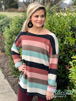 Multi Color Stripe Sweater Knit Top
