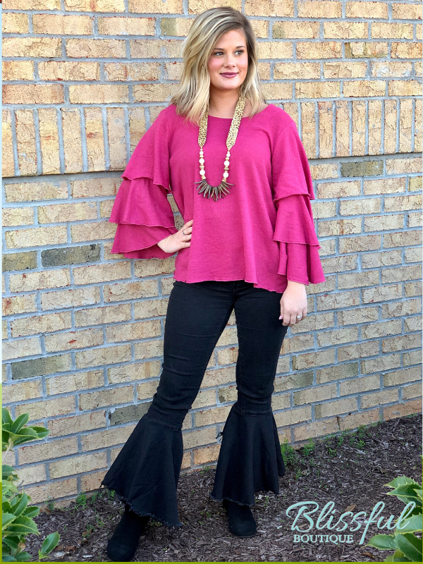 Raspberry Layered Ruffle Sleeve Top