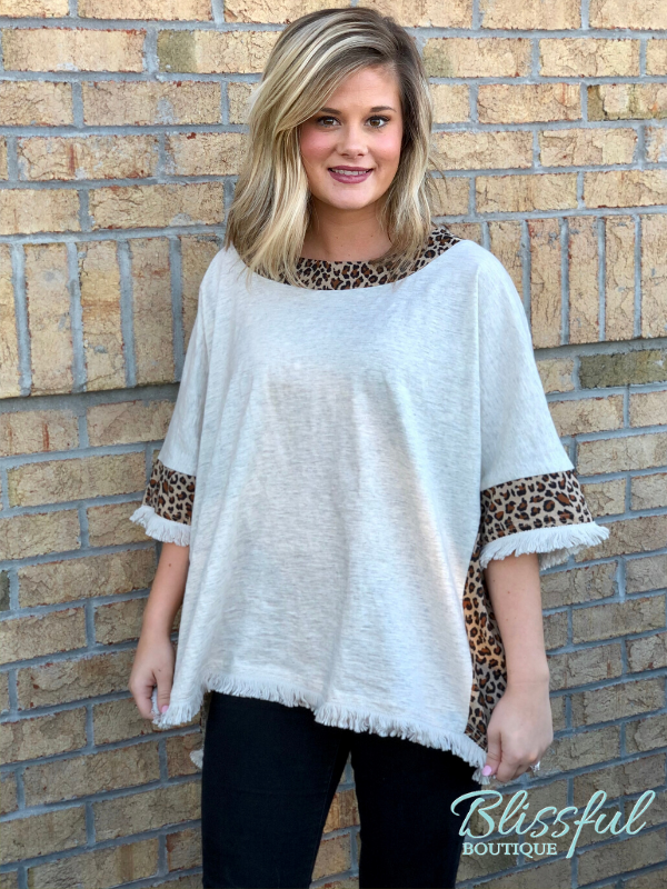 Oatmeal Animal Print Accent Hi-Lo Top
