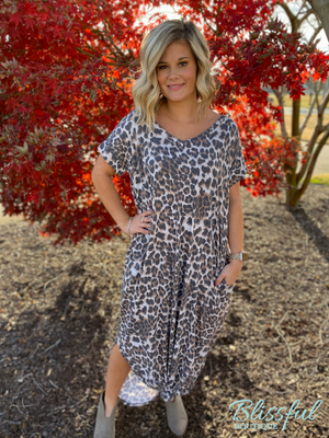 Leopard Print Short Sleeve Maxi Dress