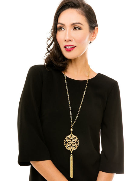 Modern Damask Pendant w/ Tassel Necklace - Blissful Boutique