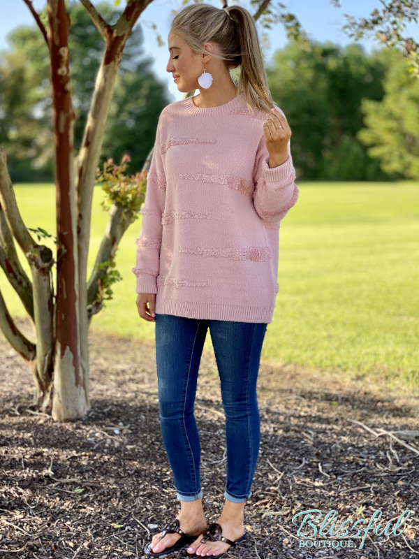 Pink Fuzzy Textured Stripe Sweater