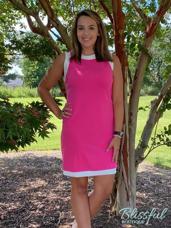Hot Pink Sleeveless Dress w/ Contrast White Trim