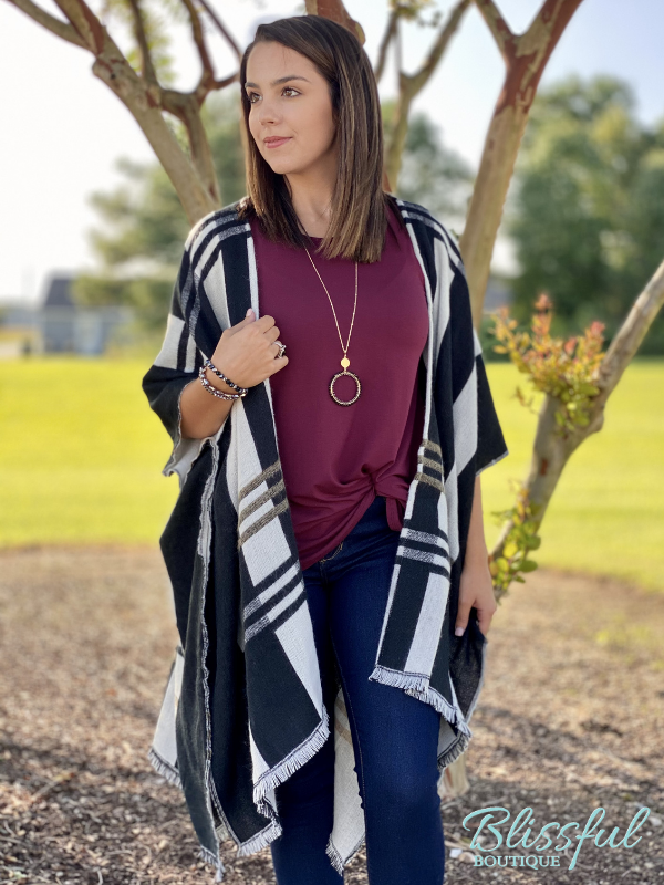 Plaid Kimono with Frayed Trim
