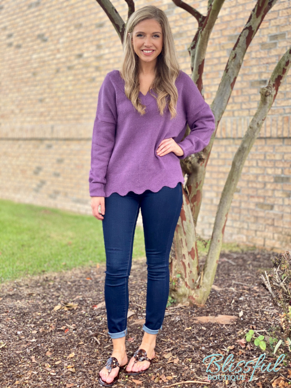 Plum Scalloped Edge V-Neck Sweater