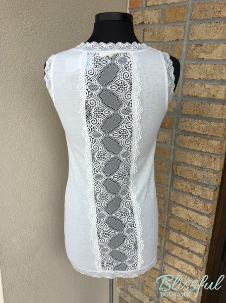 Off White Lace Detail Back Tank