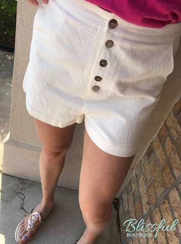 Off White Button Detail Shorts