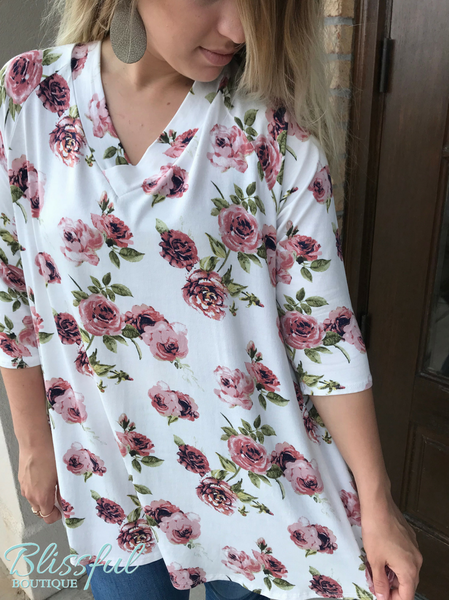 PLUS Ivory V-Neck Floral Tunic