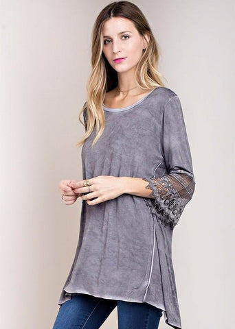 Ash Oil Washed Tunic w/ Lace Sleeve Detail