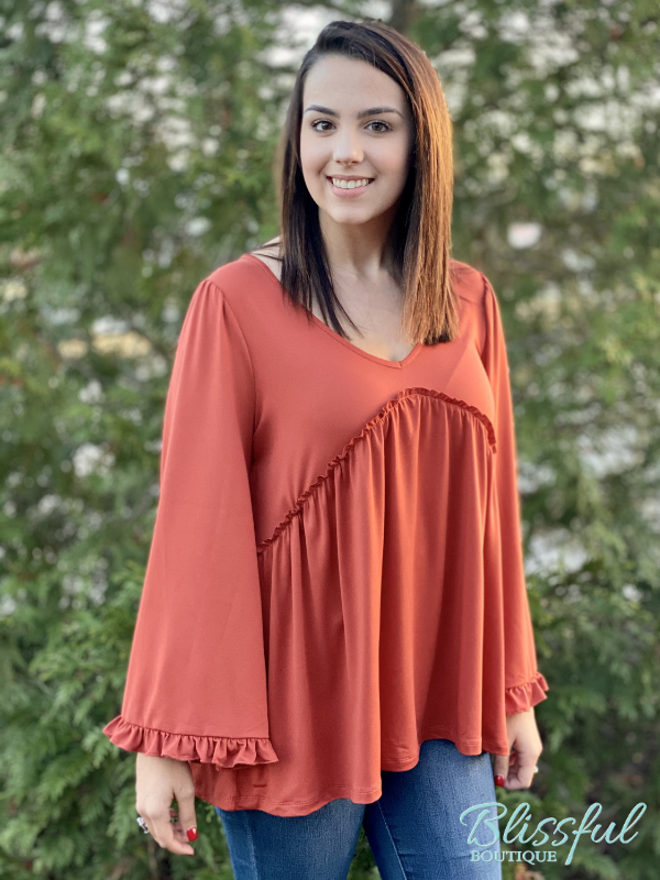Rust V-Neck Ruffle Detail Flare Top