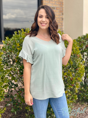 Sage Linen Ruffle Short Sleeve Top