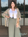 Olive Button Palazzo Pants