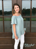Sage Off the Shoulder Ruffle Top