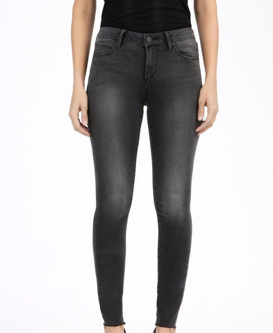 Charcoal Sarah Cut off Skinny Leg Denim - Blissful Boutique