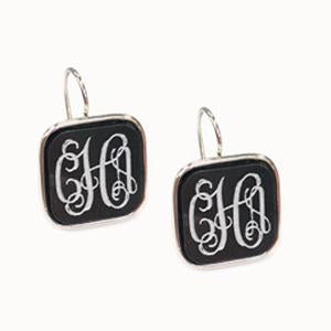 Square Drop Monogram Earrings