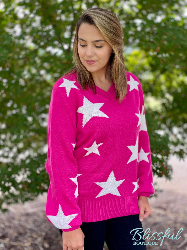 Hot Pink Star Pattern V-Neck Sweater