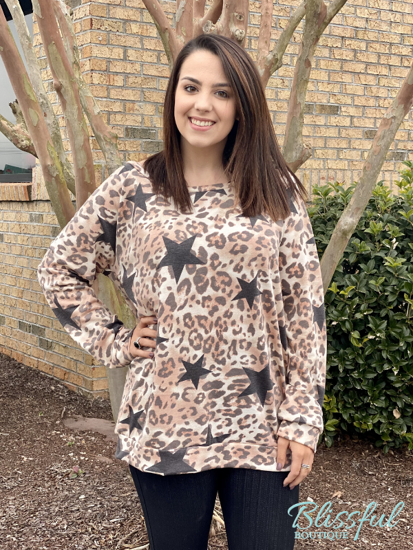 Star & Leopard Print French Terry Top