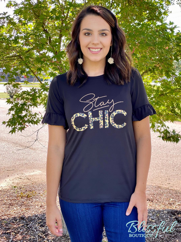 "Black ""Stay Chic"" Graphic Top w/ Ruffle Sleeves"