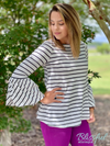 Off-White/Black Stripe Tunic w/ Bell Sleeves
