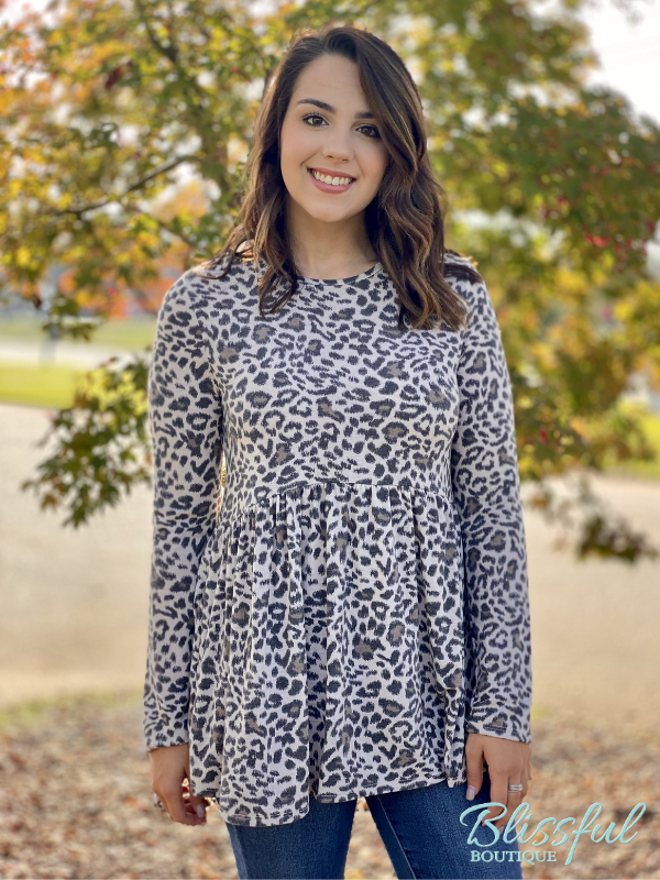 Taupe Animal Print Babydoll Top